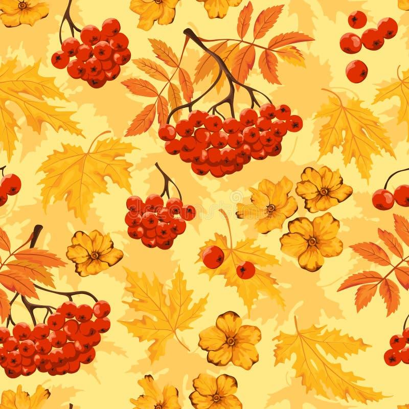 Teste padrão sem emenda do outono com folhas, flores e ashberry Ilustração do vetor ilustração royalty free