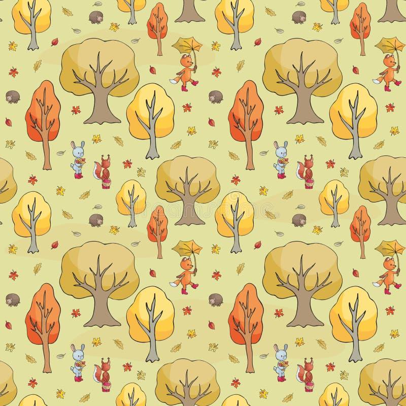 Teste padrão sem emenda do outono com os animais bonitos da floresta ilustração royalty free