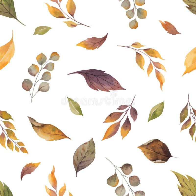 Teste padrão sem emenda do outono do vetor da aquarela com as folhas caídas isoladas no fundo branco ilustração stock