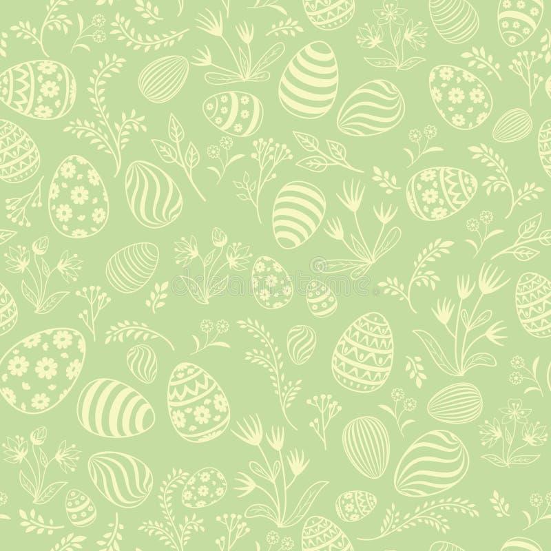 Teste padrão sem emenda do ovo da páscoa Fundo floral do feriado ilustração do vetor