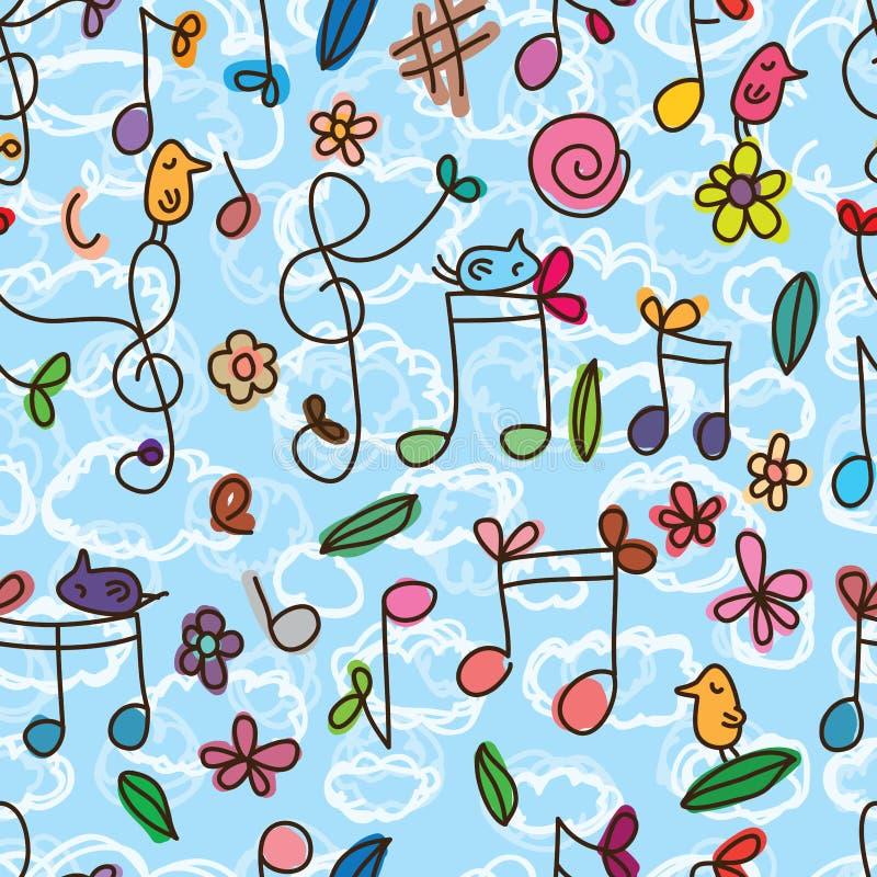 Teste padrão sem emenda do pássaro bonito da nota da música ilustração do vetor