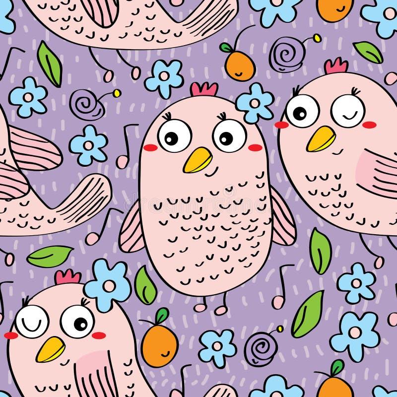 Teste padrão sem emenda do pássaro da música ilustração do vetor