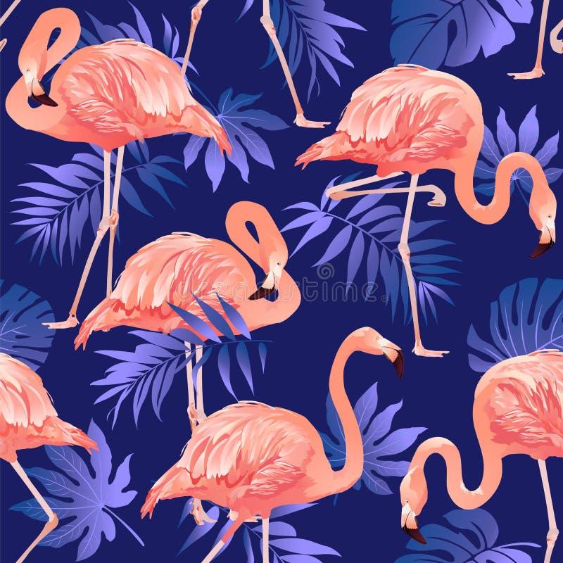 Teste padrão sem emenda do pássaro do flamingo e do fundo tropical das flores ilustração do vetor