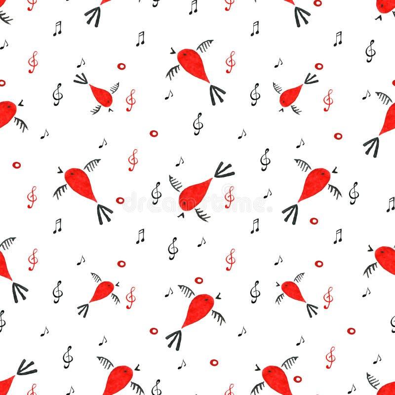 Teste padrão sem emenda do pássaro, fundo da mola com pássaros do canto ilustração royalty free