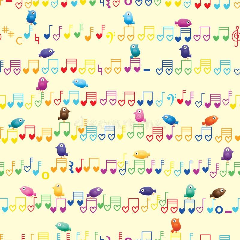 Teste padrão sem emenda do pássaro horizontal da nota da música ilustração do vetor