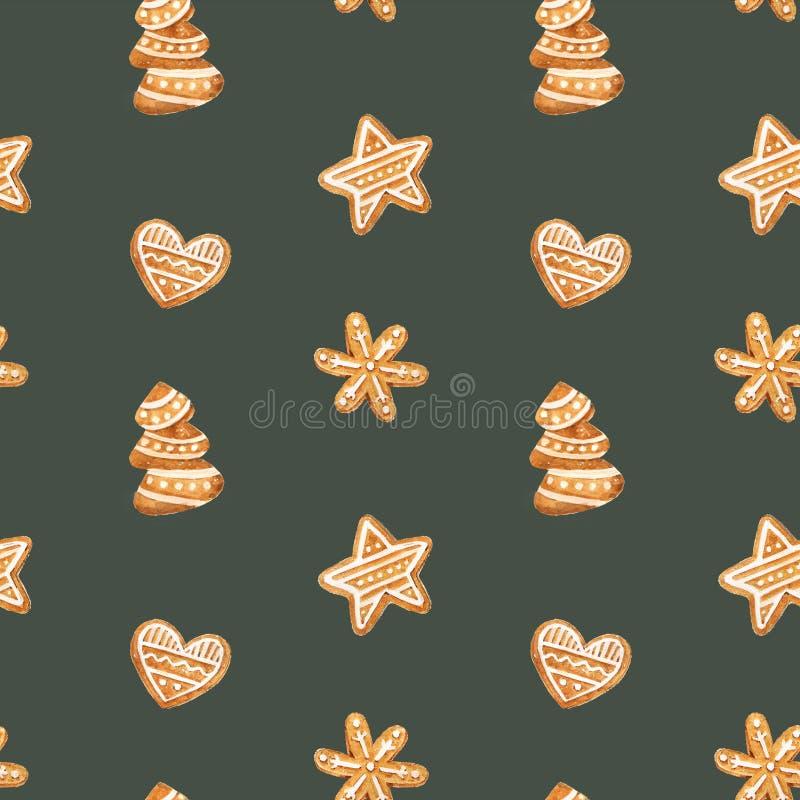 Teste padrão sem emenda do pão-de-espécie do Natal Cookies do gengibre no fundo azul Ilustração da aguarela Fundo bonito do Xmas  ilustração do vetor