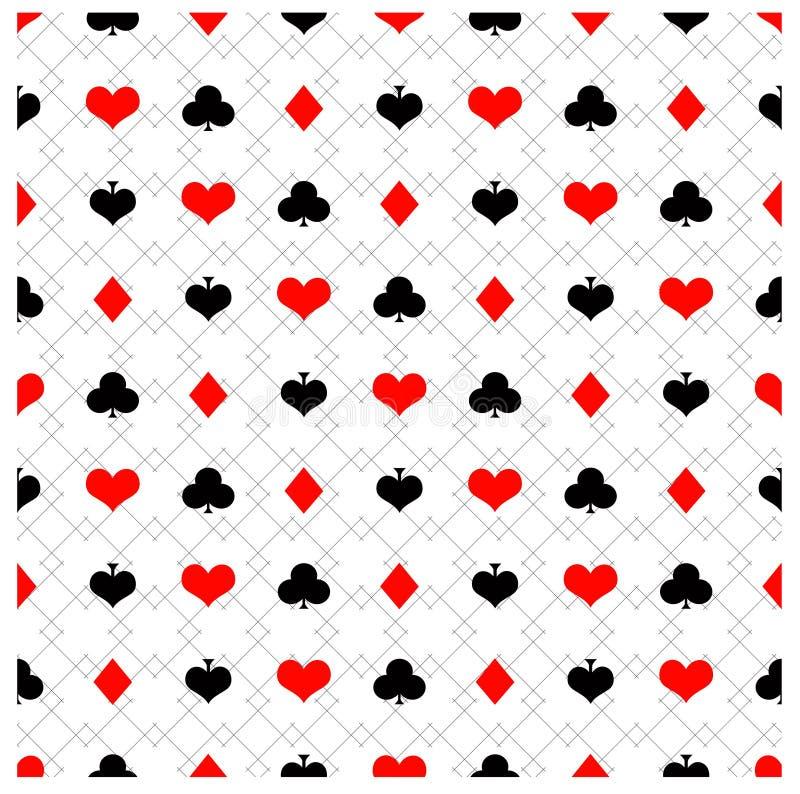 Teste padrão sem emenda do pôquer com ternos do cartão foto de stock royalty free