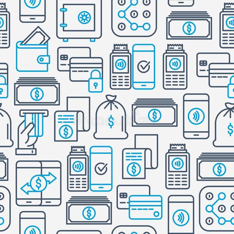 Teste padrão sem emenda do pagamento com linha fina ícones ilustração stock