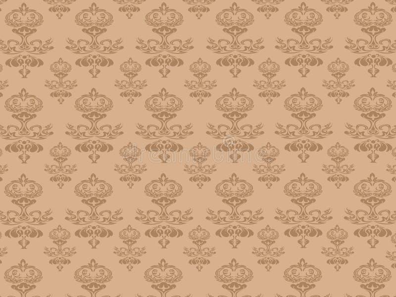 Teste padrão sem emenda do papel de parede de Brown ilustração stock