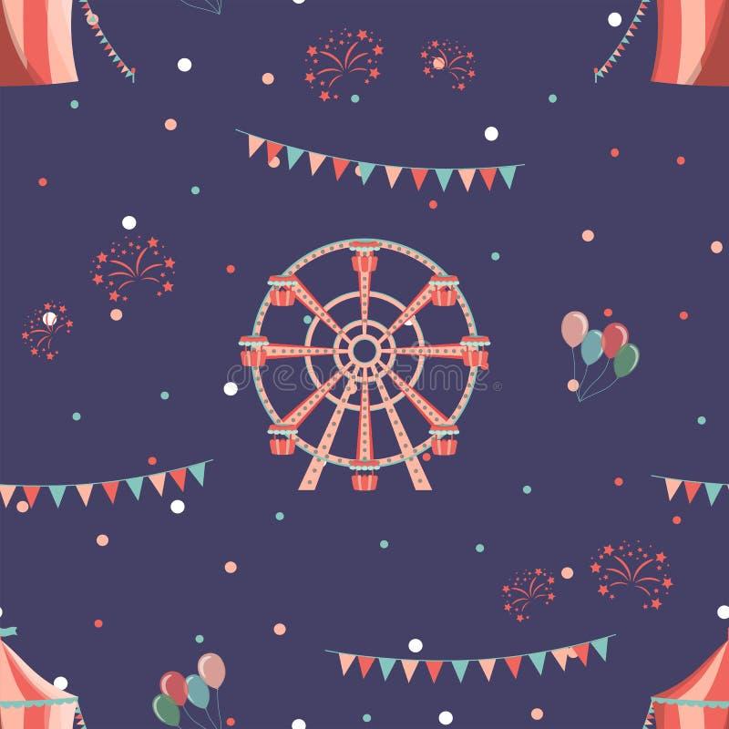 Teste padrão sem emenda do parque de diversões com roda e circo de ferris ilustração do vetor