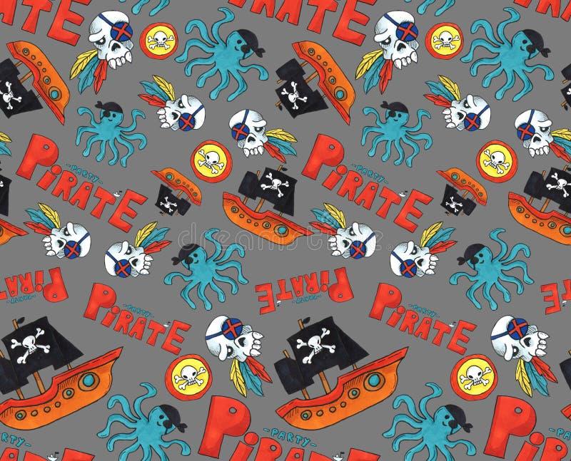 Teste padrão sem emenda do partido do pirata objetos coloridos que repetem o fundo para a Web e a finalidade da cópia arte do mar ilustração stock