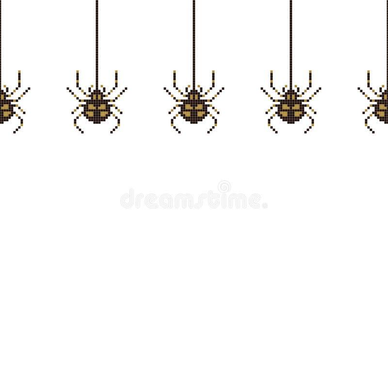Teste padrão sem emenda do pixel com a aranha mordida 8 Ilustra??o do vetor ilustração do vetor