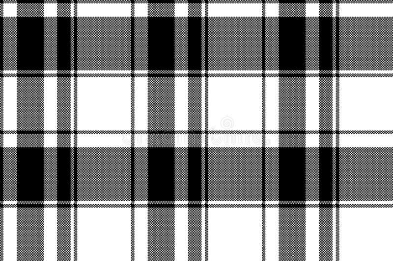 Teste padrão sem emenda do pixel da manta branca preta ilustração royalty free