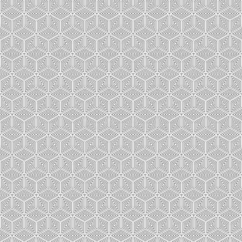 Teste padrão sem emenda do polígono geométrico Projeto gráfico da forma Ilustração do vetor Projeto do fundo Ilusão ótica 3D Esti ilustração stock