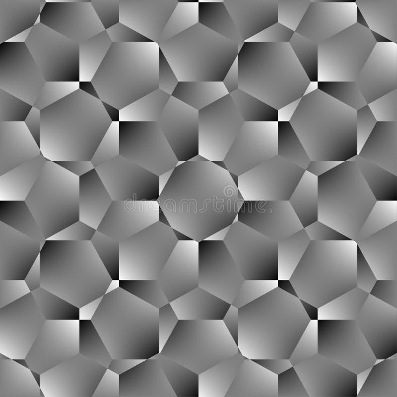 Teste padrão sem emenda do polígono geométrico Projeto gráfico da forma Ilustração do vetor Projeto do fundo Ilusão ótica 3D Esti ilustração royalty free