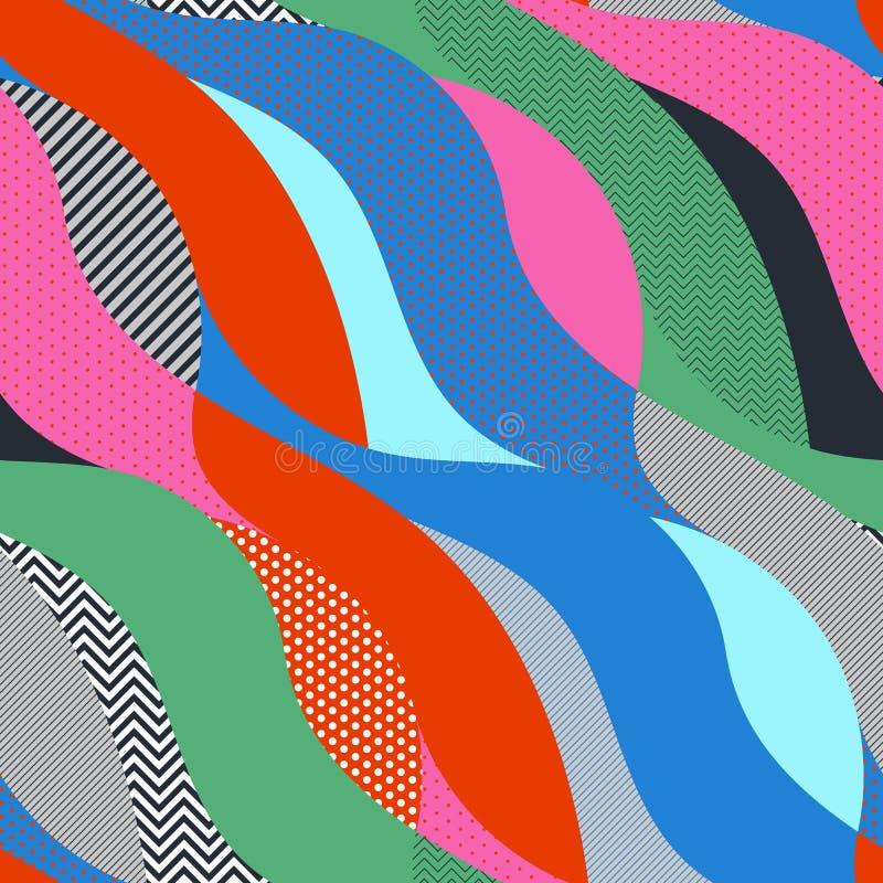 Teste padrão sem emenda do pop art geométrico colorido com ondas ilustração royalty free