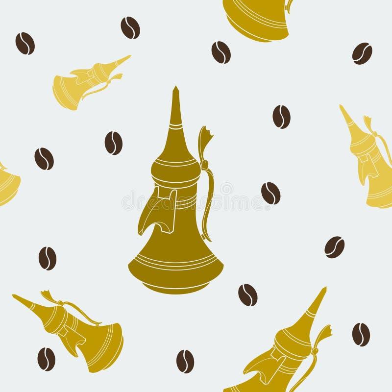 Teste padrão sem emenda do potenciômetro liso árabe do café do estilo ilustração stock