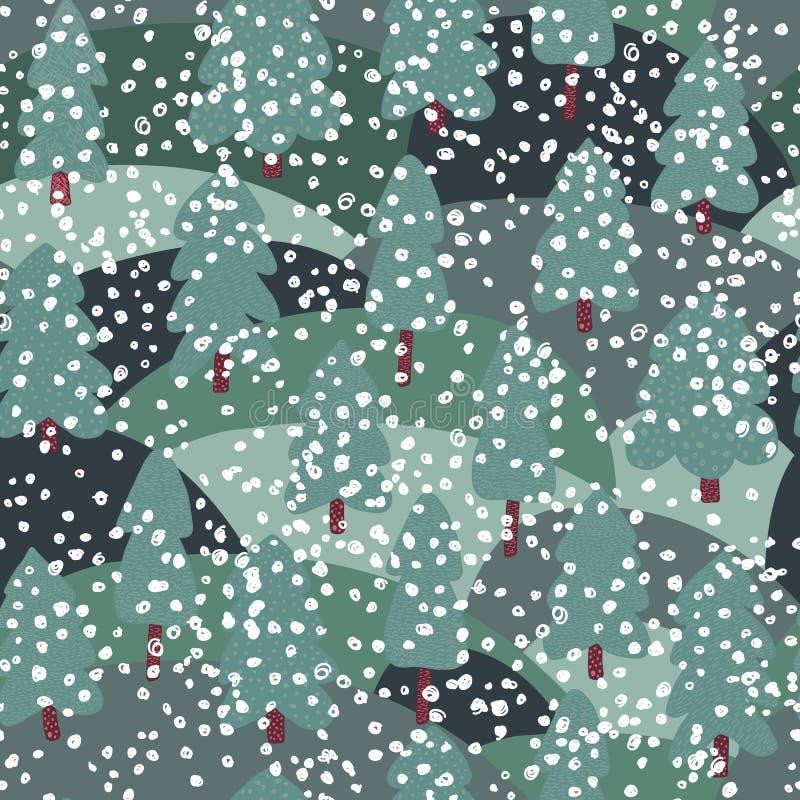 Teste padrão sem emenda do primeiro pinheiro da neve Fundo da floresta da garatuja ilustração stock