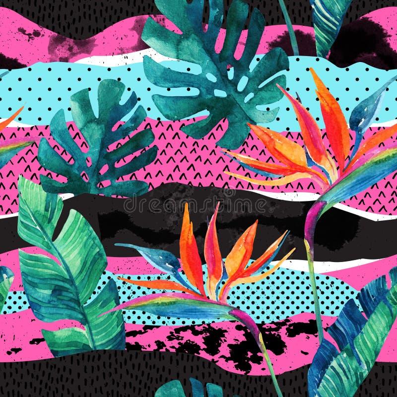 Teste padrão sem emenda do projeto tropical abstrato do verão ilustração stock