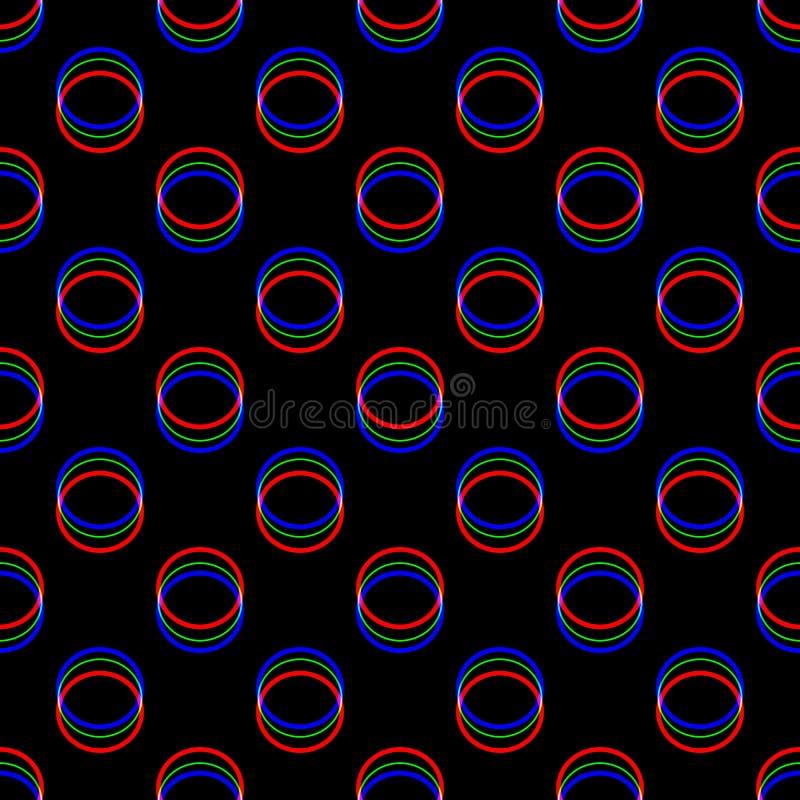 Teste padrão sem emenda do pulso aleatório do vetor Cor no fundo preto Elemento redondo do círculo Projeto do sumário do ruído do ilustração do vetor