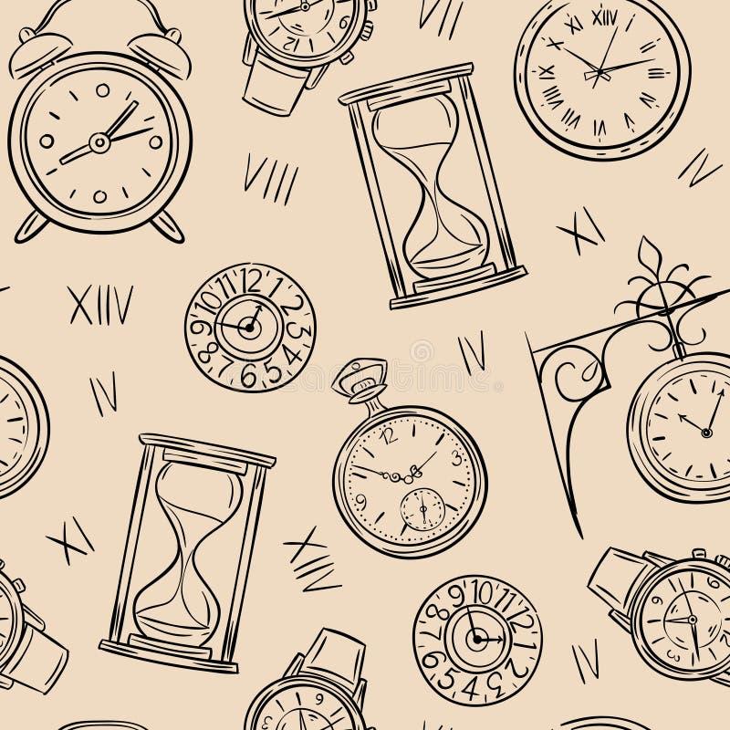 Teste padrão sem emenda do pulso de disparo Esboce o tempo, a ampulheta do esboço e o relógio do mecânico, textura do vintage do  ilustração stock