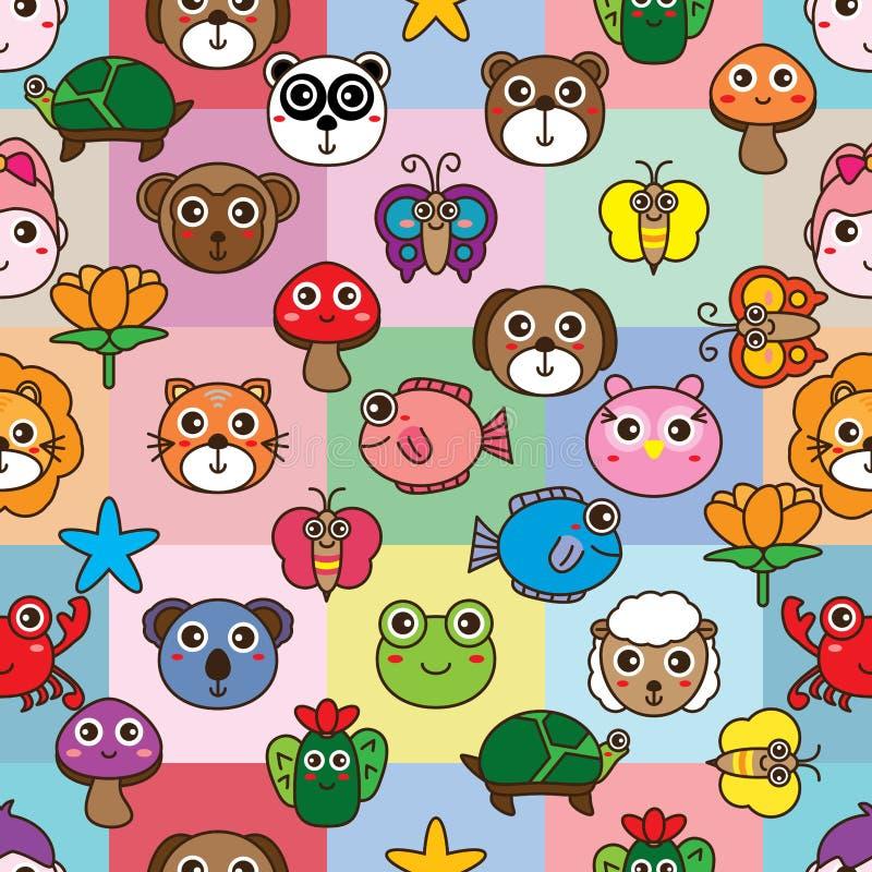 Teste padrão sem emenda do quadrado animal dos desenhos animados ilustração do vetor