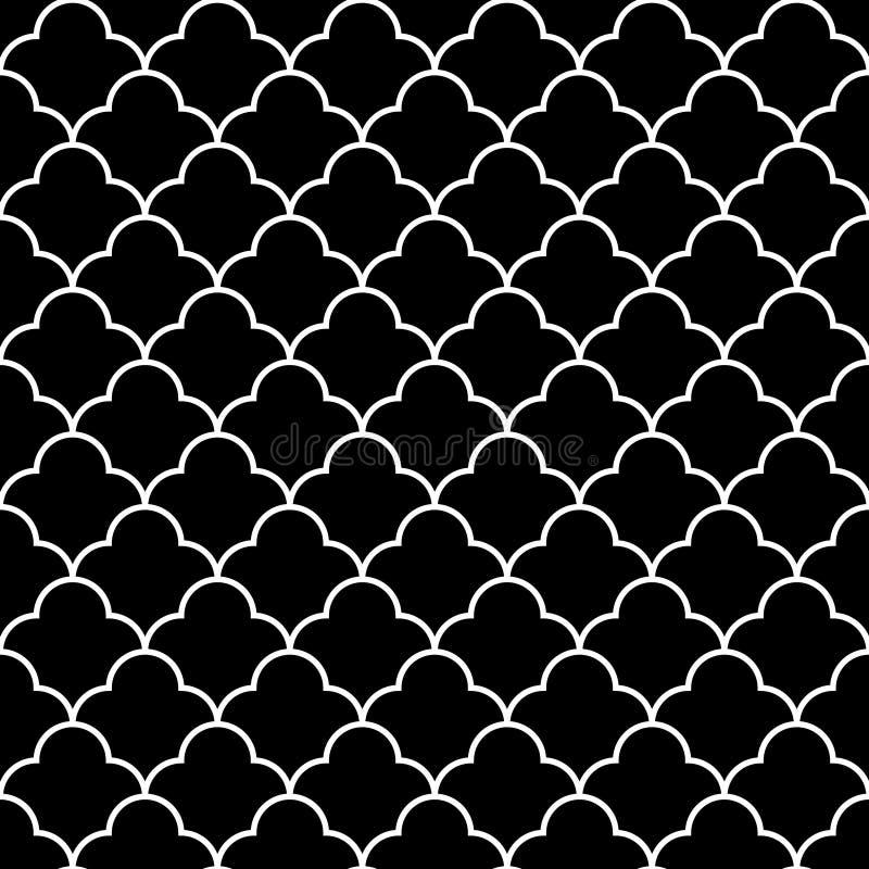 Teste padrão sem emenda do quatrefoil geométrico tradicional árabe preto e branco, vetor ilustração royalty free