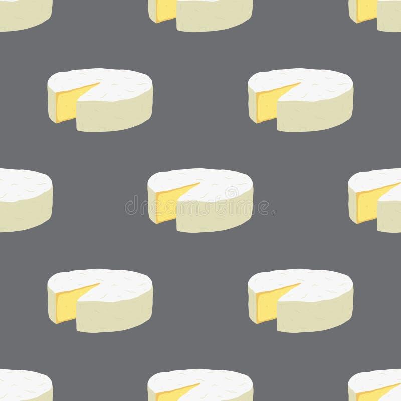 Teste padrão sem emenda do queijo do camembert do vetor Fatia, pedaço no estilo liso dos desenhos animados ilustração do vetor