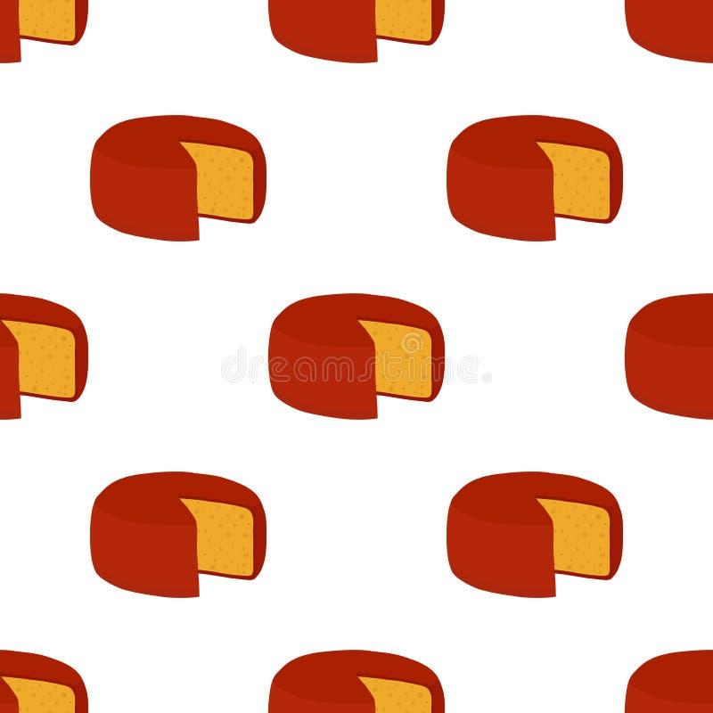 Teste padrão sem emenda do queijo de Gouda do vetor Fatia, pedaço no estilo liso dos desenhos animados ilustração royalty free