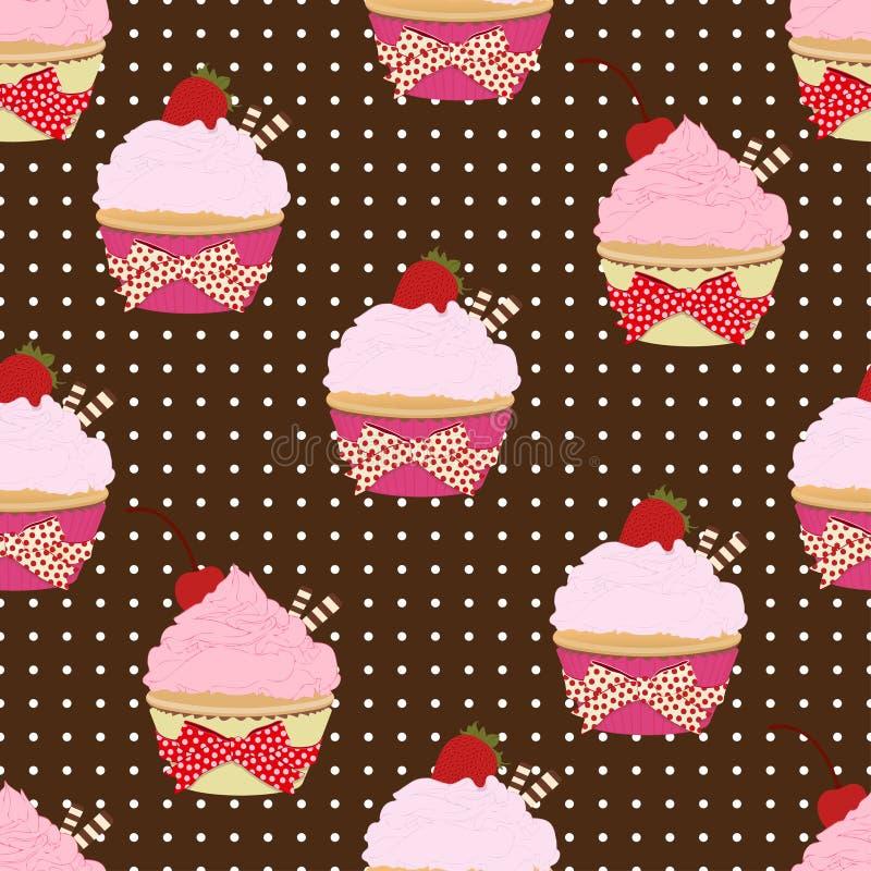 Teste padrão sem emenda do queque, fundo do vetor Bolos com creme cor-de-rosa do fruto, com uma cereja na parte superior e nos wa ilustração royalty free