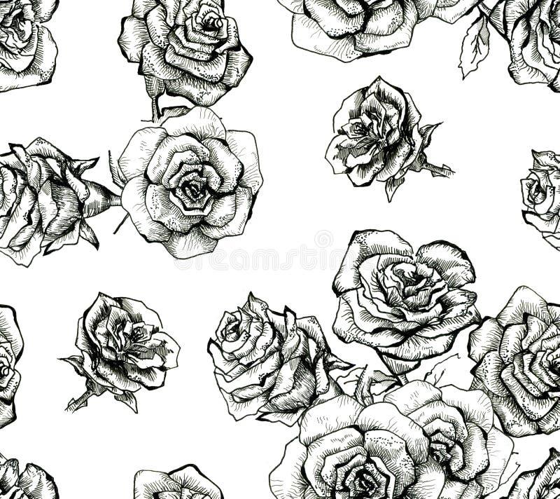 Teste padrão sem emenda do ramalhete do esboço da flor ilustração royalty free