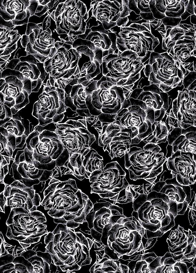 Teste padrão sem emenda do ramalhete do esboço de Rose Flower ilustração stock
