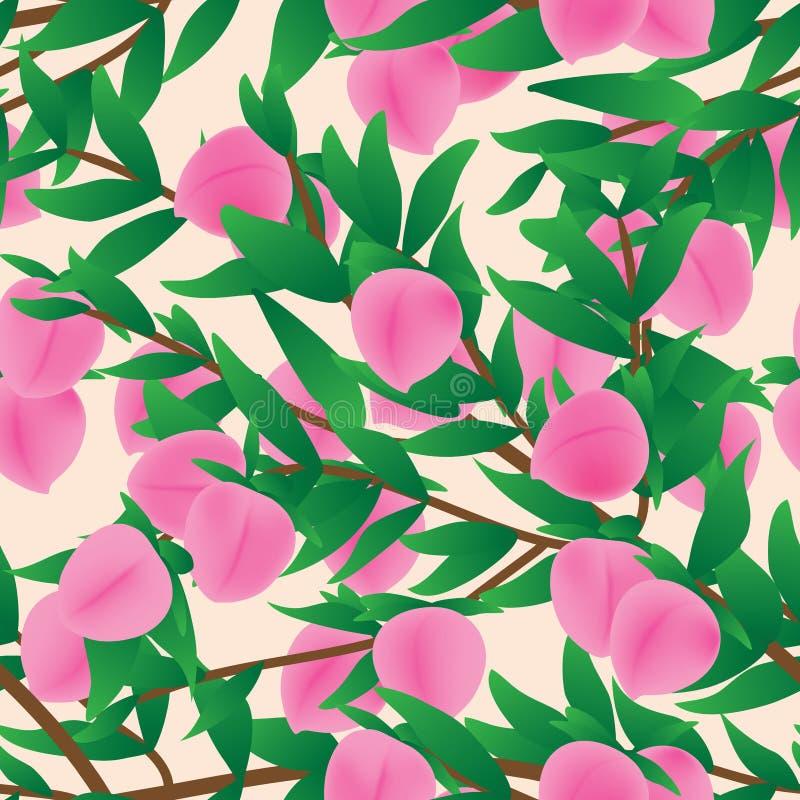 Teste padrão sem emenda do ramo cor-de-rosa do fruto do pêssego ilustração stock