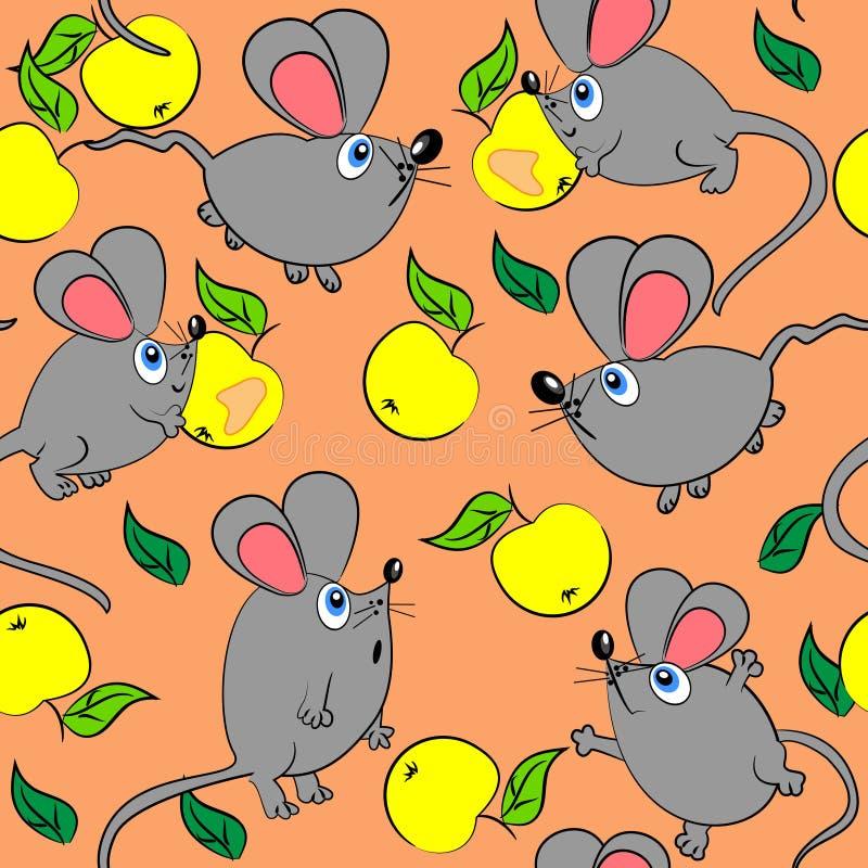 Teste padrão sem emenda do rato bonito. textura animal ilustração stock