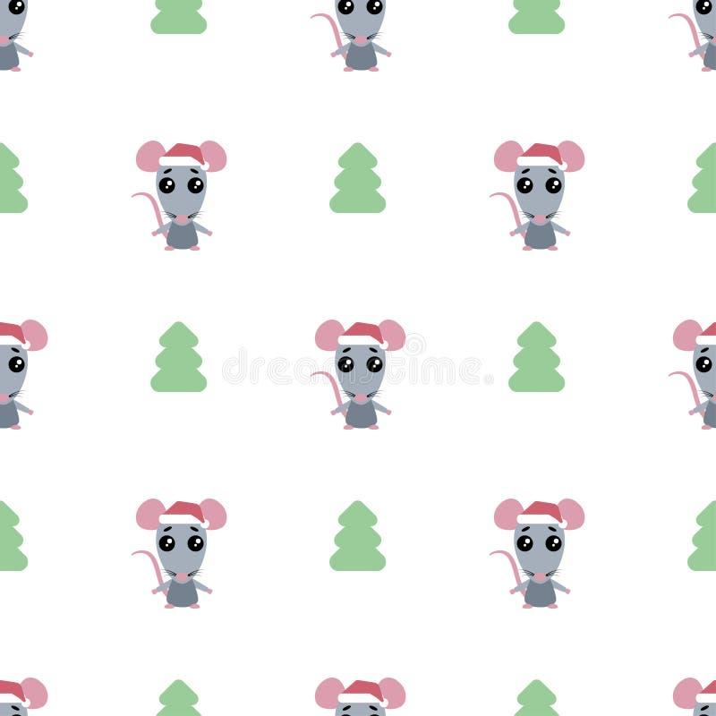 Teste padrão sem emenda do rato dos desenhos animados com a árvore de Natal no fundo branco ilustração royalty free