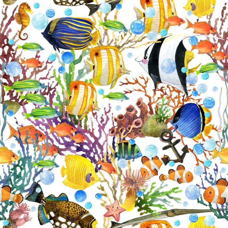 Teste padrão sem emenda do recife de corais Fundo subaquático do mundo ilustração do vetor
