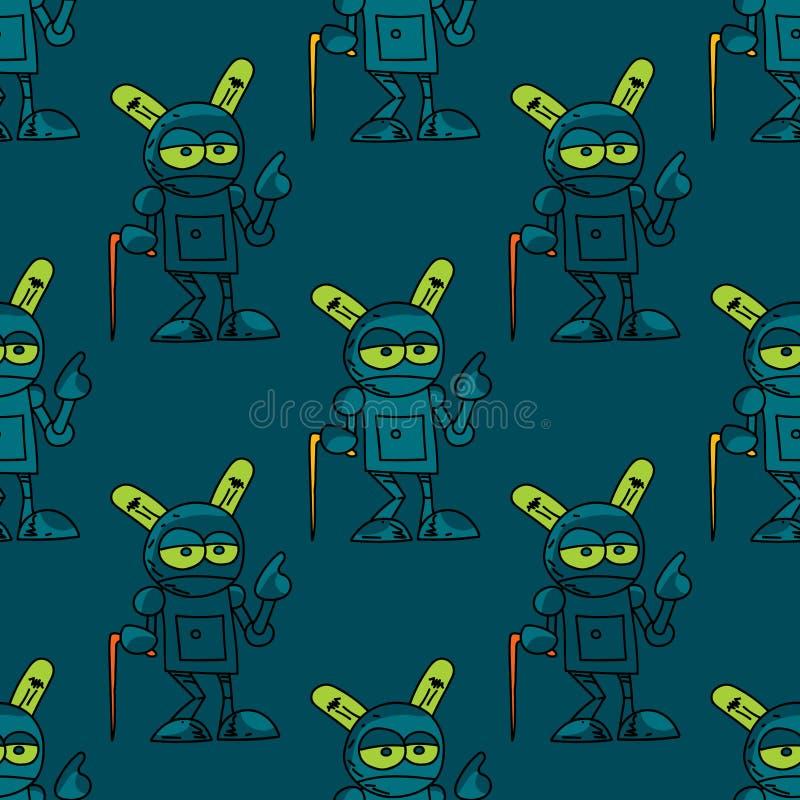 Teste padrão sem emenda do robô velho ilustração royalty free