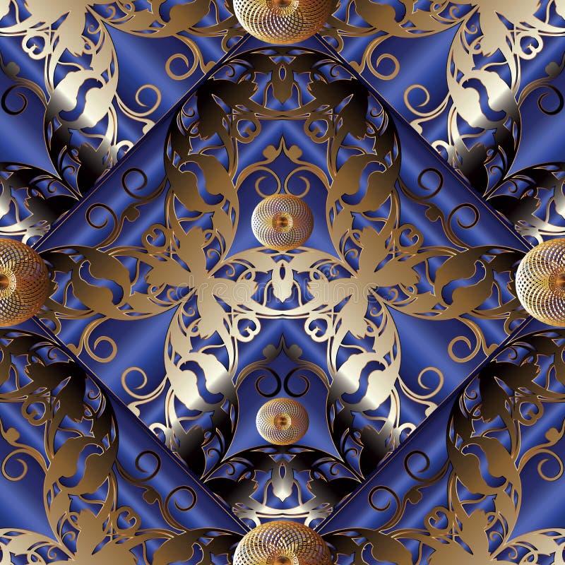 teste padrão sem emenda do rombo floral do damasco 3d ilustração royalty free