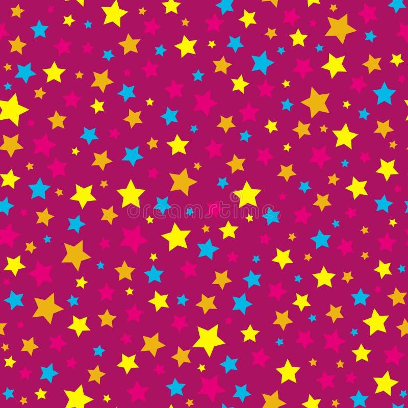 Teste padrão sem emenda do rosa brilhante das estrelas ilustração stock