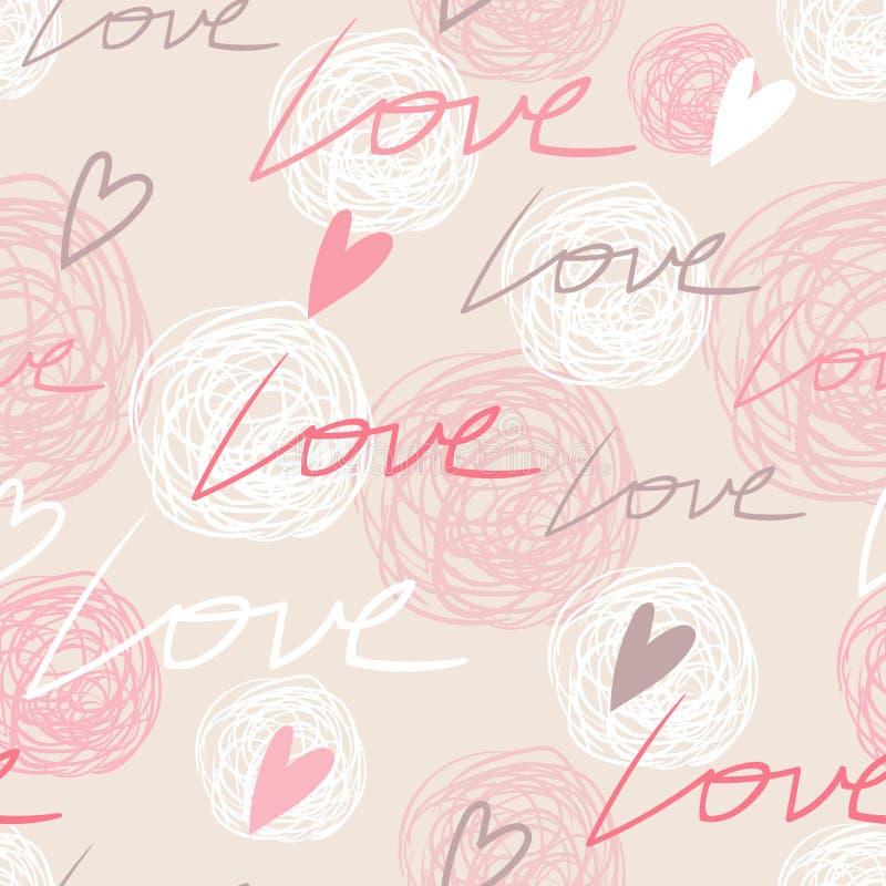 Teste padrão sem emenda do rosa pastel com palavras do amor ilustração do vetor