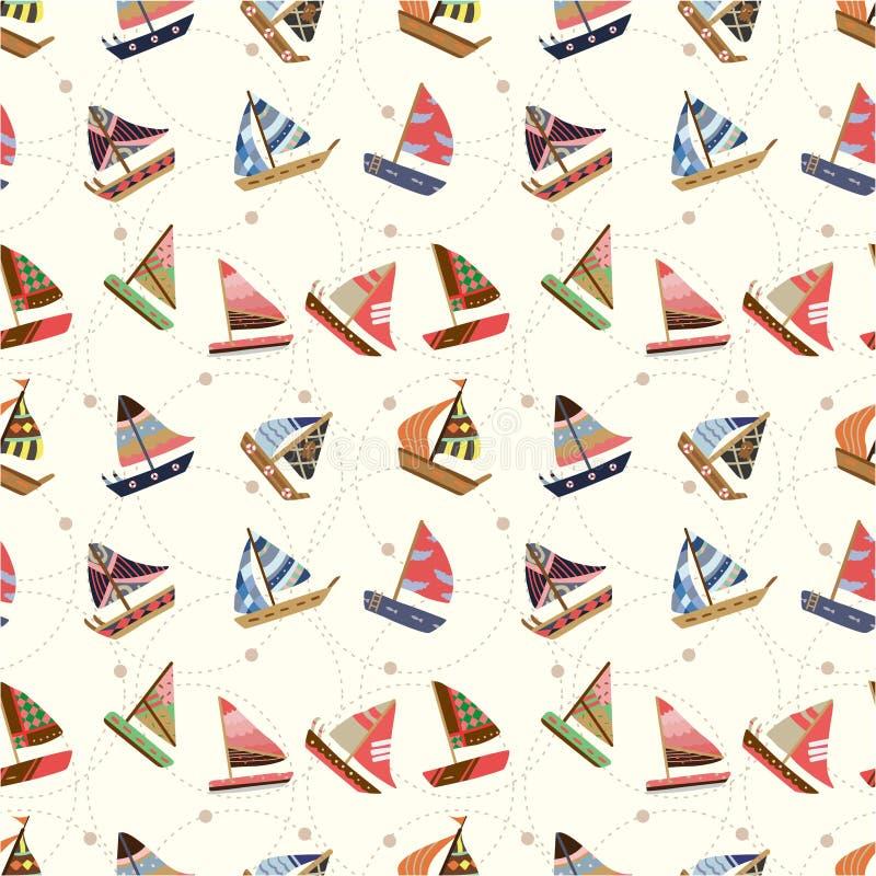 Teste padrão sem emenda do sailboat ilustração stock