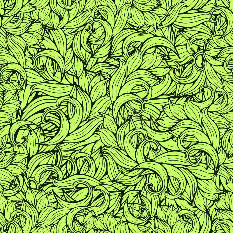 Teste padrão sem emenda do scrollwork abstrato, fundo do vetor As plantas verdes, grama, ondas, acenam Ornamento floral estilizad ilustração do vetor