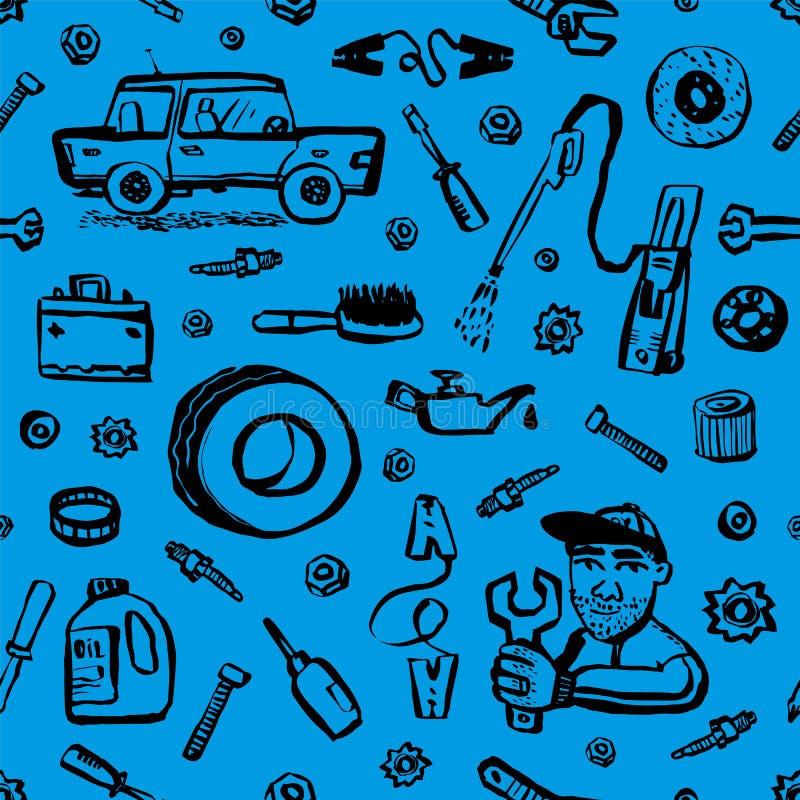 Teste padrão sem emenda do serviço do carro Fundo sem emenda azul com peça do carro, ferramentas etc. Ilustração do vetor do esti ilustração do vetor