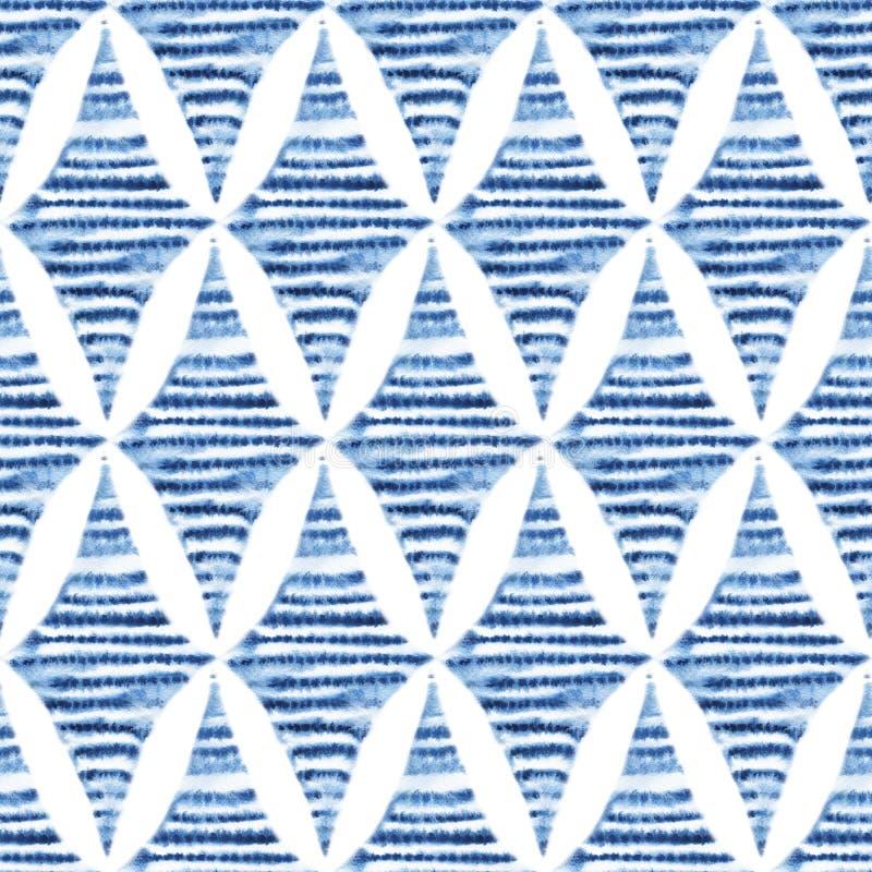 Teste padrão sem emenda do shibori, ornamento da laço-tintura Rhom azul da aquarela ilustração stock
