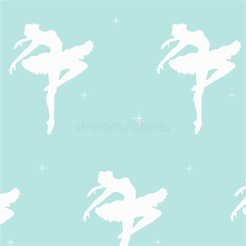 Teste padrão sem emenda do silhoette de dança das bailarinas ilustração do vetor