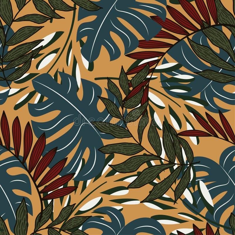 Teste padrão sem emenda do sumário da tendência com as folhas e as plantas tropicais coloridas no fundo bege Projeto do vetor C?p foto de stock