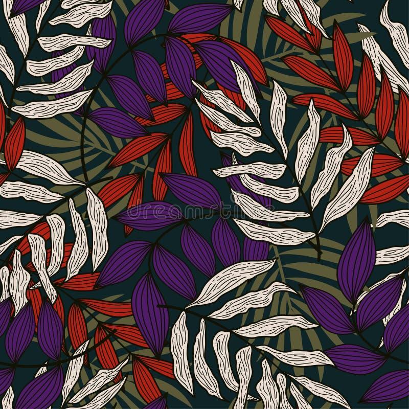 Teste padrão sem emenda do sumário da tendência com as folhas e as plantas tropicais coloridas no fundo bege Projeto do vetor C?p imagens de stock