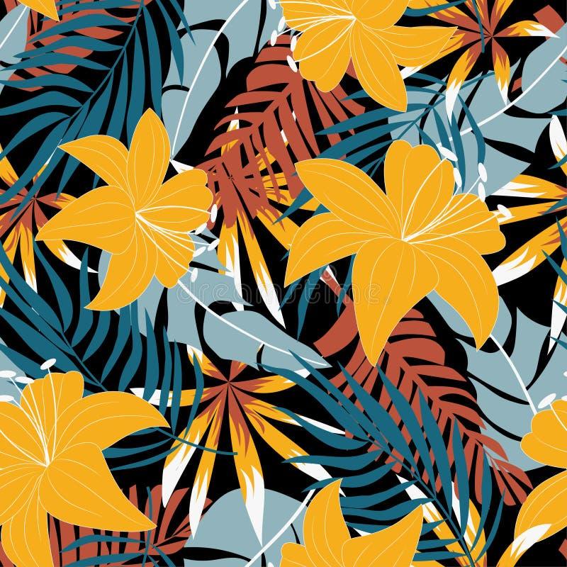 Teste padrão sem emenda do sumário da tendência com as folhas e as plantas tropicais coloridas no fundo bege Projeto do vetor C?p imagem de stock royalty free
