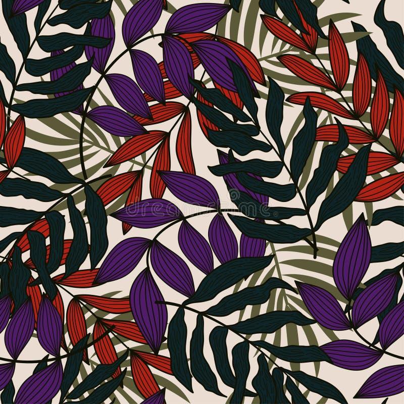 Teste padrão sem emenda do sumário da tendência com as folhas e as plantas tropicais coloridas no fundo bege Projeto do vetor C?p fotografia de stock royalty free