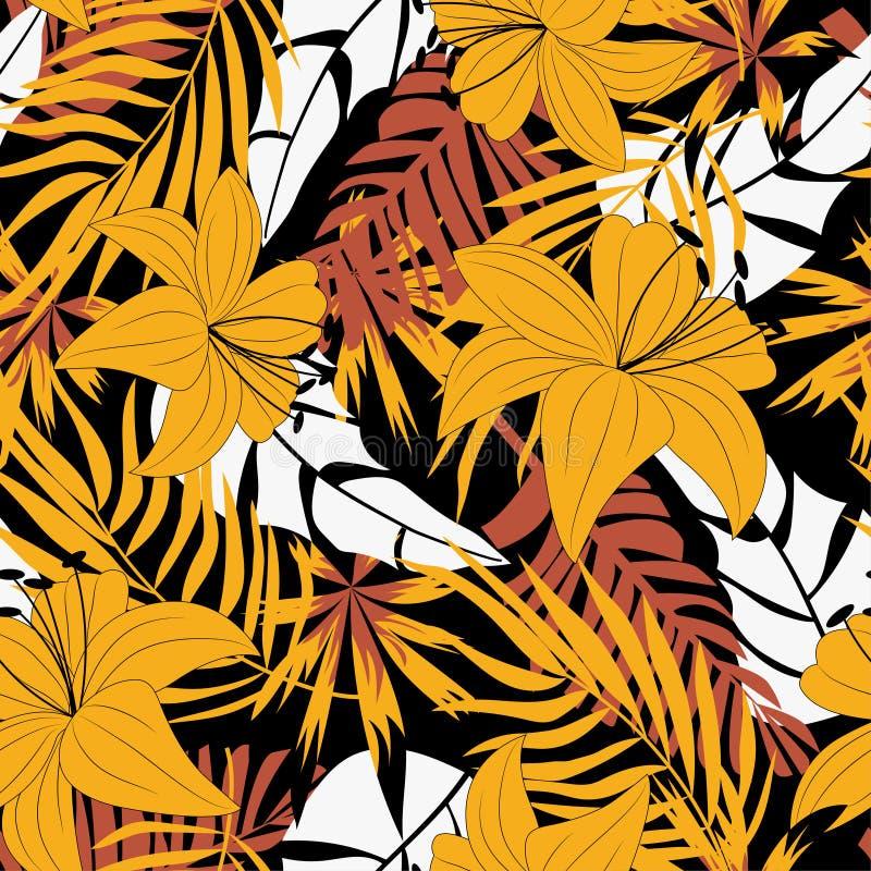 Teste padrão sem emenda do sumário da tendência com as folhas e as plantas tropicais coloridas no fundo bege Projeto do vetor C?p imagens de stock royalty free